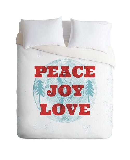 Deny Designs Heather Dutton Peace Joy Love Woodcut Twin Duvet Set