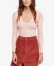 Free People Hey Lady Ribbed Pleated-Shoulder Top