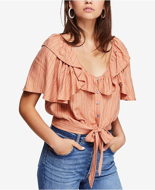 638ffdc5783e Free People Rosemary Tie-Waist Top   Reviews - Tops - Women - Macy s