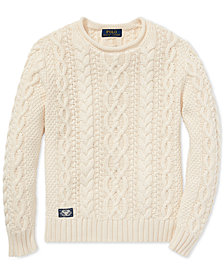 Polo Ralph Lauren Big Boys Aran-Knit Cotton Sweater