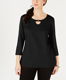 Karen Scott Petite Ring Hardware Scoopneck Top, Created for Macy's