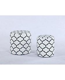 Bella Luna 2 Pc Round Ottoman Set W/ Geometric Pattern