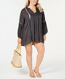 Raviya Plus Size Lace-Trim Cover-Up