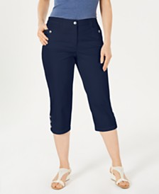Karen Scott Petite Button-Hem Capri Pants, Created for Macy's