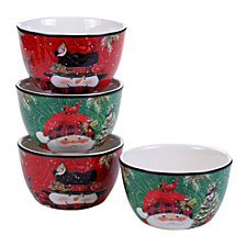 Certified International Winter's Plaid 4-Pc. Ice Cream Bowls