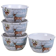 Certified International Winter Lodge 4-Pc. Ice Cream Bowls