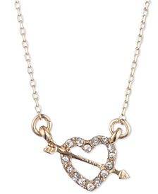 "lonna & lilly Gold-Tone Pavé Heart Pendant Necklace, 16"" + 3"" extender"
