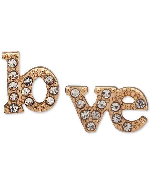 lonna & lilly Gold-Tone Pavé Love Mismatch Stud Earrings