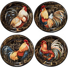 Certified International Gilded Rooster 4-Pc. Soup/Pasta Bowl