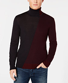 A|X Armani Exchange Men's Diagonal Colorblocked Turtleneck Sweater