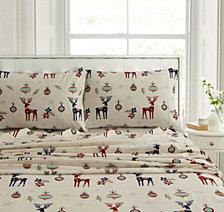 Reindeer Heavyweight Flannel Standard Pillow Pair Set
