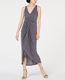 Vince Camuto Ruched Glitter Midi Dress