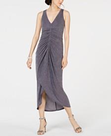 Vince Camuto Ruched Glitter Midi Dress