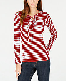 MICHAEL Michael Kors Ribbed Lace-Up Top, In Regular & Petite Sizes