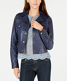 MICHAEL Michael Kors Leather Trucker Jacket