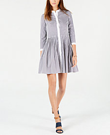 MICHAEL Michael Kors Striped Contrast-Trim Shirtdress
