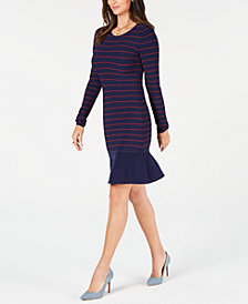 MICHAEL Michael Kors Striped Ruffled-Hem Dress, In Regular & Petite Sizes