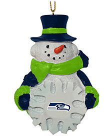 Memory Company Seattle Seahawks Snowflake Snowman Ornament