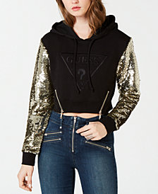 GUESS Jennifer Sequin Cropped Hoodie
