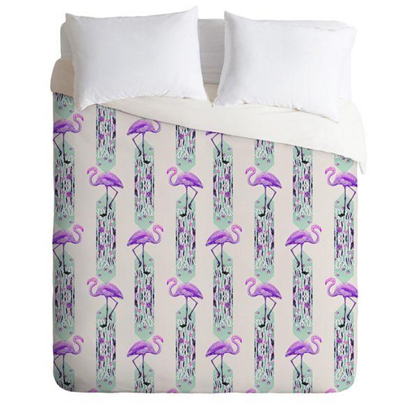 Deny Designs Iveta Abolina Pattern of Flamingo Twin Duvet Set
