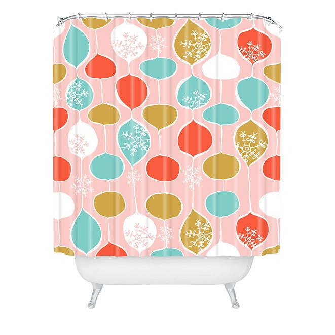 Deny Designs Heather Dutton Snowflake Holiday Bobble Chill Pink Shower Curtain