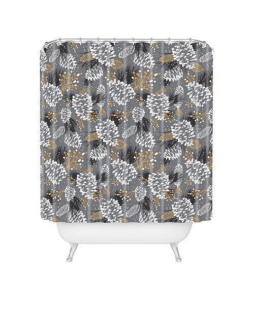 Deny Designs Heather Dutton Festive Forest Silver Shower Curtain