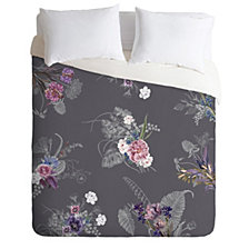 Deny Designs Iveta Abolina French Countryside Charcoal Queen Duvet Set