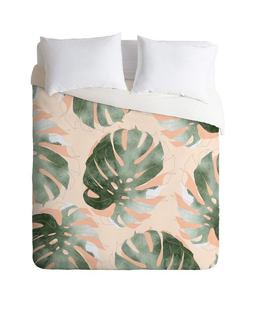 Deny Designs Iveta Abolina Bohemian Monstera Queen Duvet Set