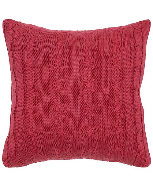 """Rizzy Home 18"""" x 18"""" Cable Knit Poly Filled Pillow"""
