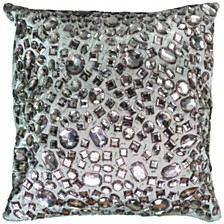 """Rizzy Home 12"""" x 12"""" Hand JeweledPoly Filled Pillow"""