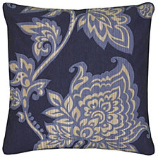 "Rizzy Home Blue 18"" X 18"" Floral Poly Filled Pillow"
