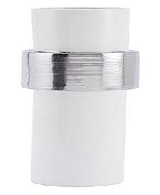 Illos Lg Vase White & Silver
