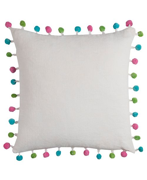 "Rizzy Home 18"" x 18"" Poms Poly Filled Pillow"