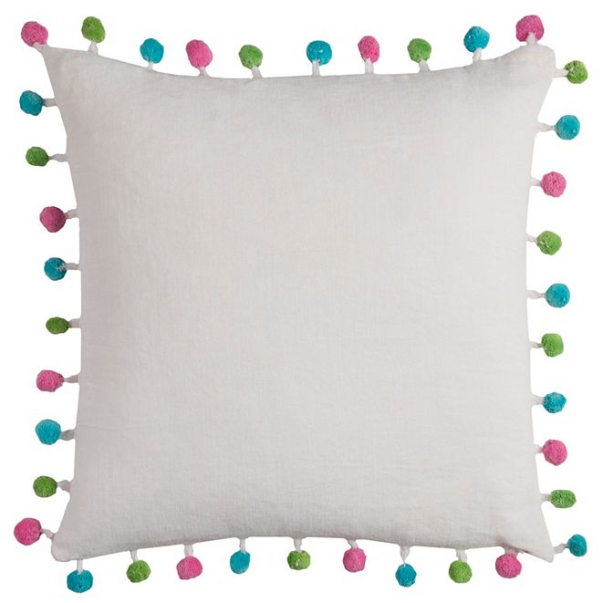 """Rizzy Home 18"""" x 18"""" Poms Poly Filled Pillow"""
