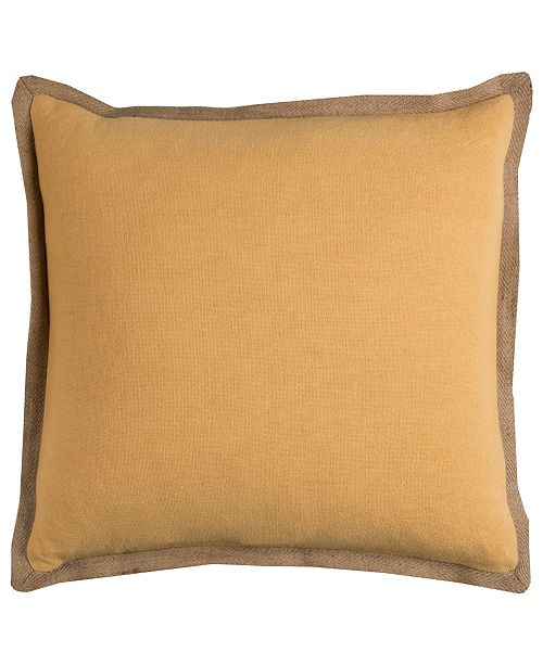 "Rizzy Home Gold Trim Solid 22"" x 22"" Poly Filled Pillow"