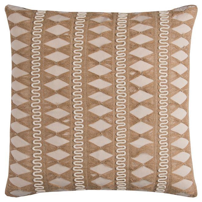 """Rizzy Home 22"""" x 22"""" Pulled Jute Stripe Poly Filled Pillow"""