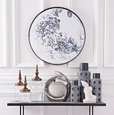 Round Mirror Antique Blue
