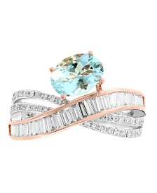 EFFY® Aquamarine (1-1/6 ct. t.w.) and Diamond (1/2 ct. t.w.) Ring in 14k Rose and White Gold