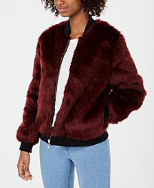 Say What? Juniors' Faux-Fur Bomber Jacket