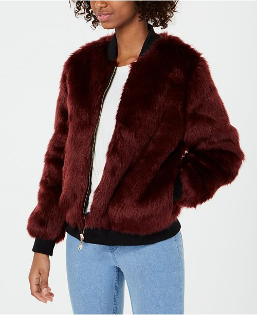 e1c2994aa Say What? Juniors' Faux-Fur Bomber Jacket & Reviews - Jackets ...