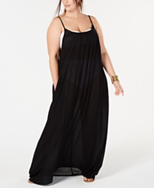 Raviya Plus Size Lace-Trim Maxi Cover-Up