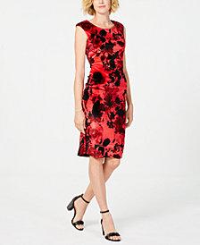 Connected Floral Velvet Sheath Dress