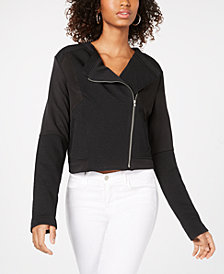 Material Girl Juniors' Asymmetrical Patchwork Bomber Jacket, Created for Macy's