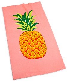 "CLOSEOUT! Martha Stewart Collection Pineapple 38"" x 68"" Beach Towel, Created for Macy's"