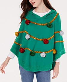 Hooked Up by Iot Juniors' Tree Poncho Sweater