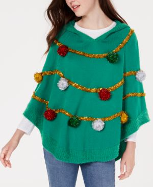 Hooked Up by Iot Juniors' Tree Poncho Sweater - Cloverfield Combo