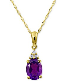 "Amethyst (1 ct. t.w.) & White Topaz Accent 18"" Pendant Necklace in 10k Gold"