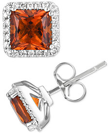 Citrine (1-1/2 ct. t.w.) & Diamond (1/5 ct. t.w.) Stud Earrings in 14k White Gold (Also Available in Aquamarine)