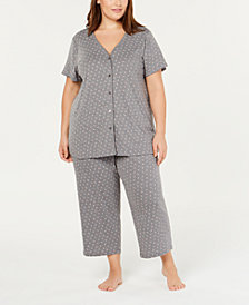 Charter Club Plus Size Cotton Knit Pajama Set, Created for Macy's