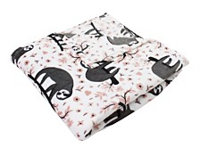 Sandro Sloth Printed Flannel Fleece Blanket